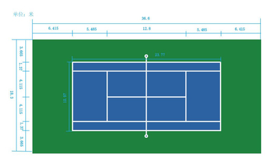 ITF Standard comforted Tennis court